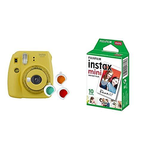 Instax Mini 9 Appareil Photo Transparent Jaune & Films Mini Instax - 86 x 54 mm - Monopack 10 Films