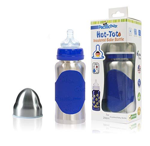 Pacific Baby Hot-Tot - Biberón de acero inoxidable aislado, capacidad de 200 ml, color plateado y azul