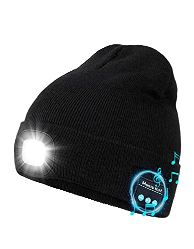 Wmcaps Bluetooth Cappello con Luce LED Ricaricabile, Berretto Musicale con Torcia a LED Tecnologia Uomo Donna Idea Regalo per Ciclismo Campeggio Escursionismo (Nero)