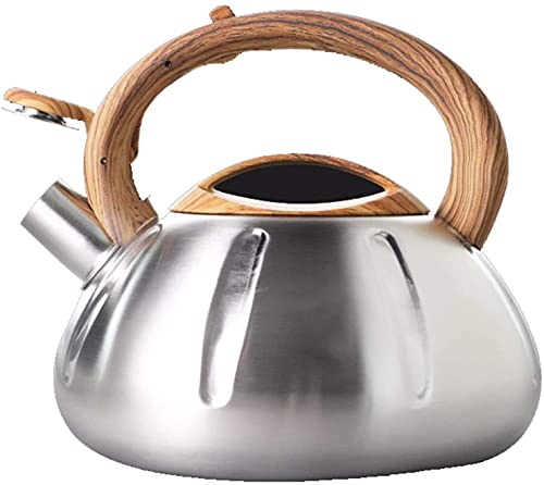 LXDZXY Kettles,2.5L Whistling Stove Top Imitation Wood Grain Silicone Handle Stainless Steel Tea with Heat-Proof Handle for Gas Induction Cookers
