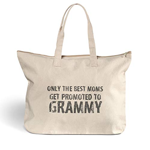 Canvas Beach Tote Best Moms Get Promoted to Grammy Family & Friends Shopping Bags Zippered Design Only