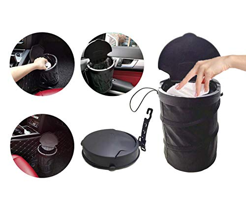 JULY PRO Traveling Portable car Garbage can with Lid,Collapsible Pop-up Trash Can with Cover Car Trash Bag Hanging Portable Car Accessories Organizer