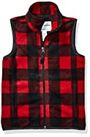 Amazon Essentials Kids Boys Polar Fleece Vests, Exploded Red Buffalo Check, X-Small