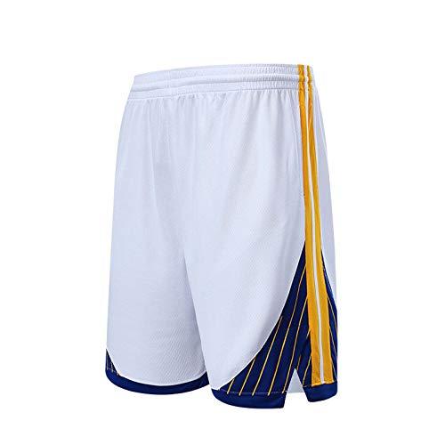 ZJFSL Pantalones Corto De Baloncesto Unisex de la NBA del Equipo de los Guerreros de Baloncesto de los Hombres de Baloncesto Bordados Transpirables de Secado rápido con Bolsillos