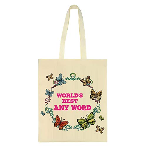 Personalised World's Best ANY WORD Gift for Friend,Granny,Nanny,Sister Birthday Gift Tote Bag Cotton Shopping Bag. (Natural)