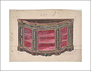 Anonymous Artist, British, 19th Century - 20x16 Art Print by Museum Prints - Design for a Glass Fronted Cabinet with Red Interior