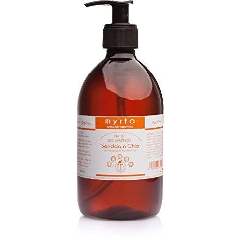 myrto – Bio Shampoo Sanddorn Chia mild | ohne Alkohol -gegen trockenes und stumpfes Haar - für mehr Glanz, Locken + gesunde Kopfhaut - gegen Spliss - 500ml