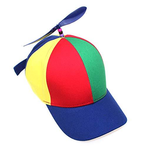 Ouken 1pc Baseballmütze mit Propeller Lustige Propeller-Hut Kreative Airscrew Hut Mehrfarben-Kappe Baseballmütze für Erwachsene