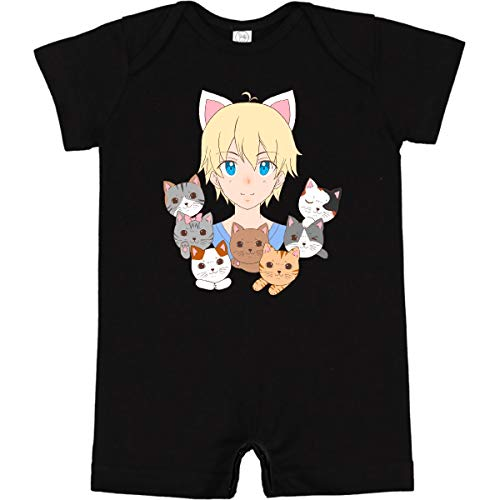 inktastic Neko Anime Boy with Cats Infant Romper 6 Months Black 3e6b5