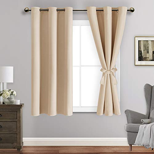 ROSETTE Beige Blackout Curtains with Tiebacks - Thermal Insulated, Light Blocking and Noise Reducing Grommet Curtain Drapes for Bedroom and Living Room, Set of 2 Panels, 42 x 54 Inch Length