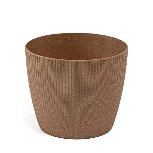 Lamela pot Magnolia Jumper ECO (+30% hout) - diameter 16cm, kleur: ECO natuurlijk hout (oranje/terracotta) | bloempot voor bloemen en planten | vanage kunststof plantenbakken + 30% hout.