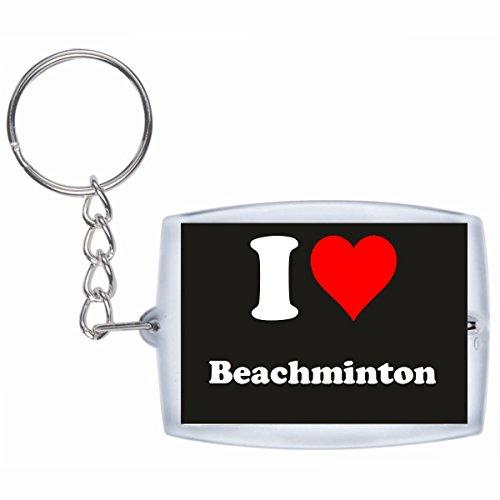 Druckerlebnis24 Schlüsselanhänger I Love Beachminton in Schwarz - Exclusiver Geschenktipp zu Weihnachten Jahrestag Geburtstag Lieblingsmensch