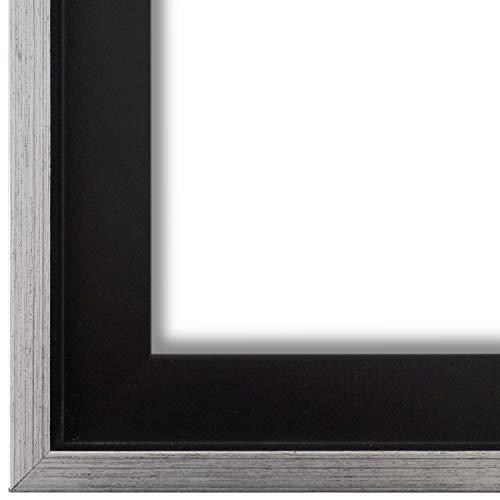 Schattenfugenrahmen Bilderrahmen Schwarz Silber 50 x 70 - 50 x 70 cm - Modern, Shabby, Vintage - Alle Größen - handgefertigter Holz Rahmen für Bilder - Leinwand auf Keilrahmen oder Platte - LR - Udine