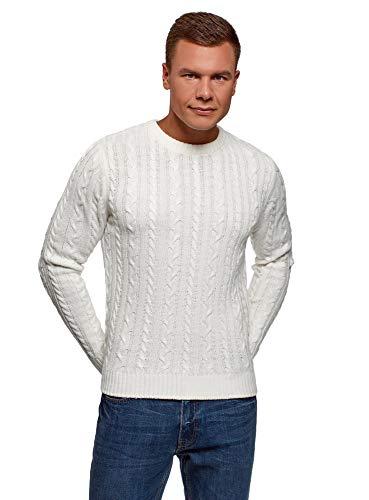 oodji Ultra Hombre Jersey de Punto Trenzado, Blanco, ES 52-54 / L