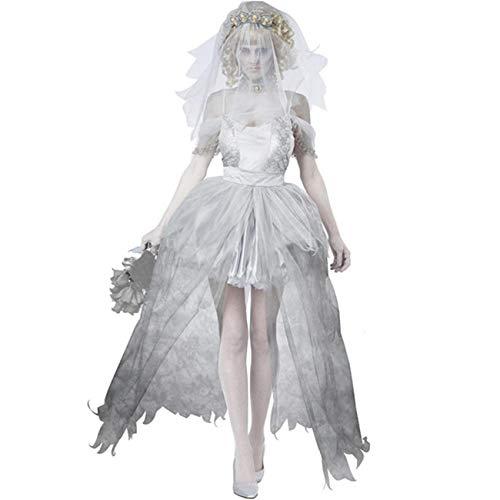 THEE Damen Mädchen Geist Braut Vampir Zombie Kostüm Halloween Cosplay Karneval Fasching Fastzeit (Damen)