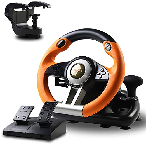 Racing Wheel, PXN-V3II 180° Game Racing Steering Wheel with Pedal and Shift Paddle, Compatible for PC, PS3, PS4, Xbox One, Nintendo Switch.(Orange)