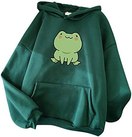 Mimacoo Cute Frog Printed Pullover for Ladies Long Sleeve Hoodie Drawstring Pocket Sweatshirts product image
