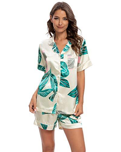 GOSO Pijama de satén para Mujer con Botones de Seda Floral Manga Cortos y Pantalones Cortos Ropa de Dormir Conjuntos Pijama para Mujer