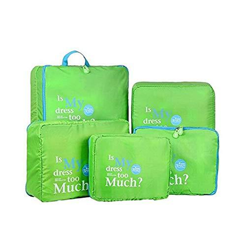Beloved Set di 5 Organizer da viaggio per valigia - beauty case - salvaspazio - lavanderia - bagaglio a mano e trolley (Verde)