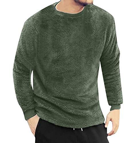 Pullover Herren Plüsch Langarm Sweatshirt Teddy-Fleece Pullover Herbst Winter Männer Kapuzenpullover Streetwear Langarmshirts S - 3XL