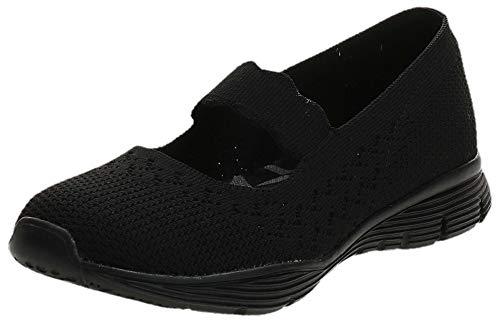 Skechers Women's Seager-Power Hitter-Engineered Knit Mary Jane Flat, Black/Black, 8 M US