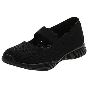 Skechers Women's Seager-Power Hitter-Engineered Knit Mary Jane Flat, Black/Black, 7 M US
