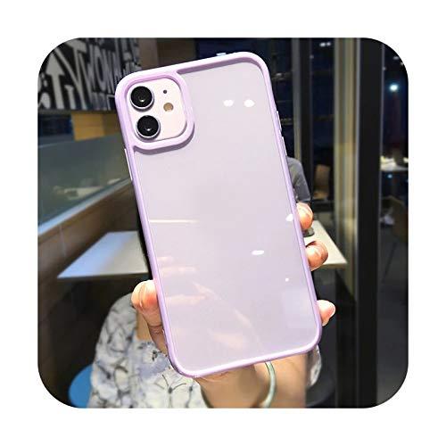 Colorido parachoques a prueba de golpes Trasparent teléfono caso para iPhone 12 Mini 11 Pro Max XR X XS Max 8 7 6S Plus SE 2020 transparente contraportada - púrpura para iPhone 6 6S