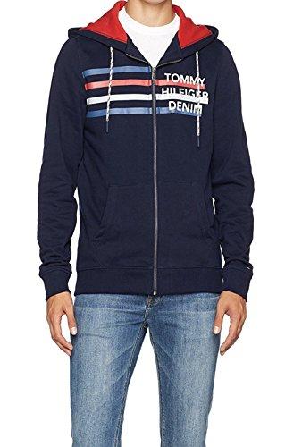 Tommy Jeans Herren Basic Logo Langarm Langarmshirt Blau (Black Iris 002) Small