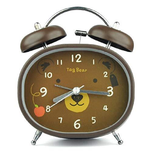 FPRW wekker met dubbele bel, schattig cartoon, horloge voor kinderen, oplichtend, creatief, snooze Bell Fashion, beer, 12,5 x 10,3 cm