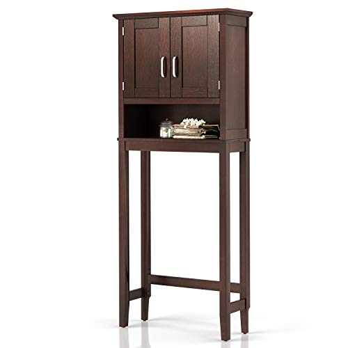 """JustRoomy Home Bathroom Over The Toilet Storage Cabinet Organizer with Adjustable Shelf Free Standing Toilet Rack Wooden Space Saver 2 Door Collect Cabinet 26"""" Lx10 Wx61 H, Espresso Color"""