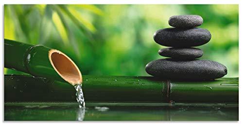Artland Wandbild Alu für Innen & Outdoor Metall Bild 40x20 cm Wellness Zen Stein Fotografie Grün Bambusbrunnen und Zen-Stein S5YF