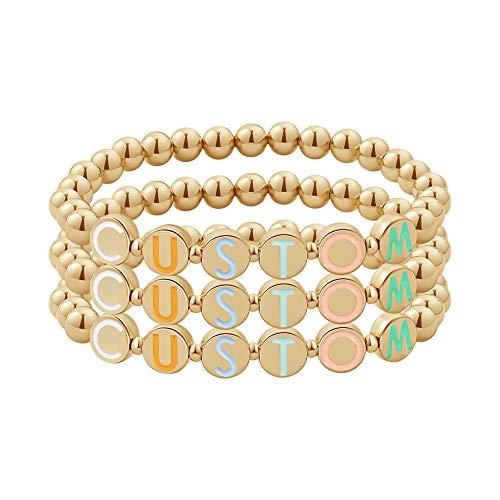 Custom Letters Name Beads Stretch Bracelet Initial Personalized Bracelet Gold Plating Bracelet for Women Mom Mother Girlfriend Initial Alphabet A-Z (custom-3set)