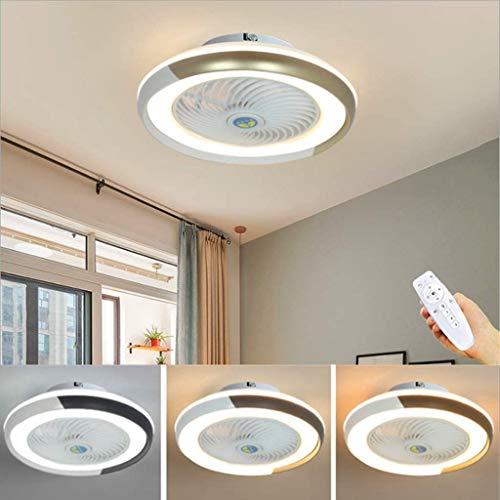 WJJH Ventilador de Techo LED Lámpara Minimalista Moderna de la lámpara de Techo Ventilador Regulable Fan Redonda Ultra silencioso Dormitorio Ahorro de energía y Sala de Estar Luces,Oro