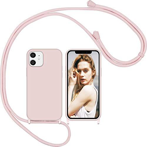 Nupcknn Funda Silicona con Cuerda para iPhone 12/iPhone 12 Pro, Carcasa Suave Silicona Case con Correa Colgante Ajustable Collar Correa de Cuello Cadena Cordón(Oro Rosa)
