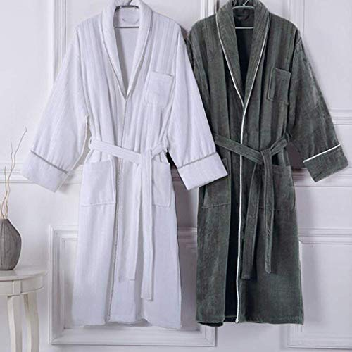 Pajamas Pyjama-Anzug, Baumwolle mit Taschen Bademantel, Herbst und Winter Fünf-Sterne-Hotel Baumwolle Handtuch Material Bademantel Verdickung Nachthemd, Paar Männer und Frauen Bademantel Hautfreundli