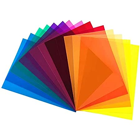 DECARETA 14pcs Filtros de Colores Transparentes Gelatinas Fotográficas superpuestas A4 Filtro de Gel de Corrección Película de Color de Transparencia Filtro de Luz de Gel Plástico 29.7 * 21 cm