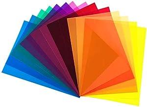 DECARETA 14 StückFarbfolien Gel Farbfilter Filter Transparente Farbige Farbfilm Folie für Foto Studio Strobe Blitz LED Li...