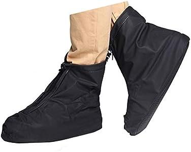 Cubierta impermeable del zapato, reutilizable hombres de ciclismo senderismo impermeable lluvia cubiertas de zapatos ligero suelas antideslizantes (M, Negro--Tubo Corto)