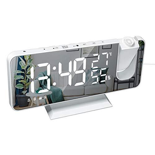 Reloj Digital Electrónico de Temperatura y Humedad, Radio Multifuncional y Reloj Despertador de Proyección, Pantalla LED de Gran Tamaño (Maquina Blanca Fuente Blanca)