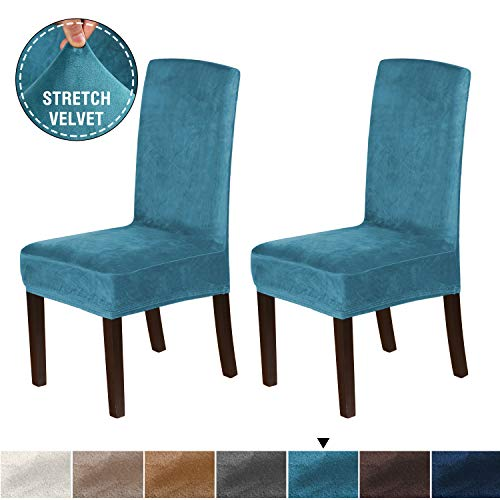 H.VERSAILTEX Velvet Dining Chair Covers Stretch Chair Covers for Dining Room Set of 2 Parson Chair Slipcovers Chair Protectors Covers Dining, Soft Thick Solid Velvet Fabric Washable, Peacock Blue