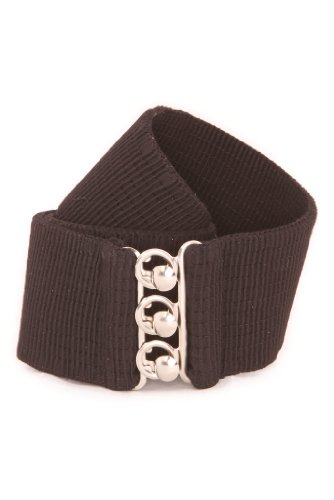 Malco Modes Luxury Vintage Adult Elastic Cinch Stretch Belt, Metal Hook and Eye Clasp Buckle, Elastic Core, Cotton-Covered (Black, Medium)