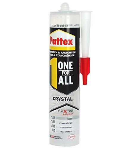 Pattex One for All Crystal Montagekleber - Extra stark haftender Alleskleber ohne Lösungsmittel - vereint Montagekleber und Silikon - 1 x 290g