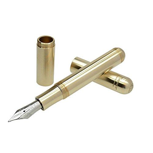 Kaweco SUPRA Füllfederhalter Brass I Exklusiver Füllhalter für Tintenpatronen mit hochwertiger Stahlfeder inkl. Retro Metallbox I Messing Füller Länge 95-125 mm I Federbreite: F (Fein)