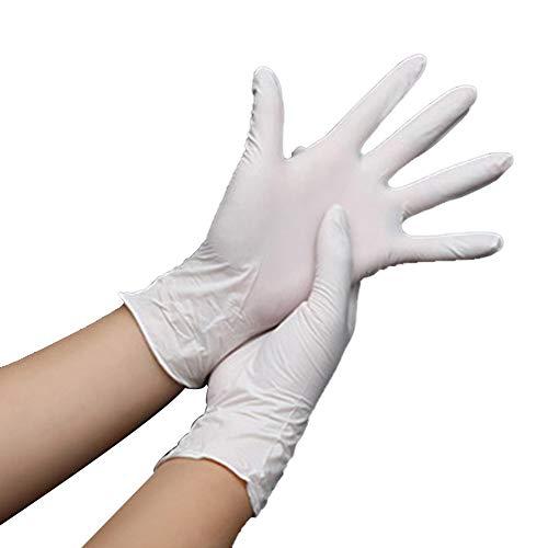 CHRONSTYLE Einweghandschuh | 100 Stück | Nitril Einzelhandschuhe Weiß in praktischer Spenderbox | Ideal für Hygienebereiche - wie Lebensmittelbranche, Kosmetik UVM. | latexfrei (Weiß, XL)
