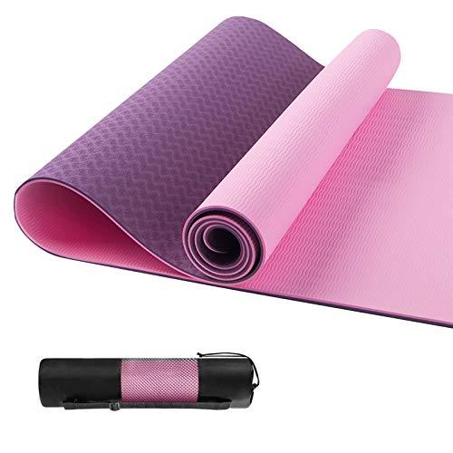 shoplease Yogamatte, Yogamatte rutschfest, Yogamatte Reise, Fitnessmatte mit Tasche für Yoga, Pilates, Fitness und Gymnastik, 183 x 61 x 0.6cm