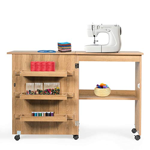 Giantex Folding Sewing Craft Table, Sewing Craft Cart with Storage Shelves and Lockable Casters Folding Sewing Table for Apartment Small Spaces (Natural, 46'x16'x31'')