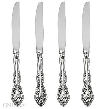 Oneida Michelangelo Fine Flatware Set, 18/10 Stainless, Set of 4 Dinner Knives
