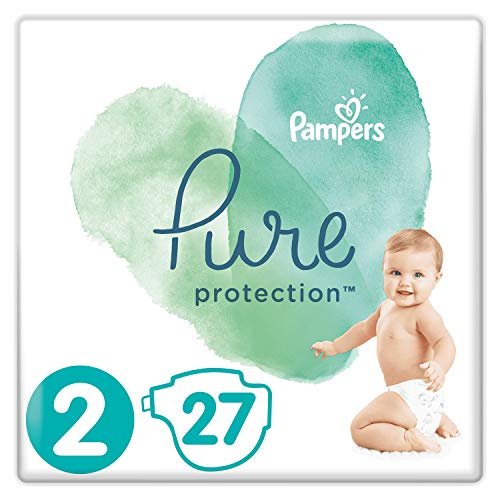 Pampers Größe 2 Pure Protection Baby Windeln, 27 Stück, Tragepack, Mit Premium-Baumwolle Und Pflanzenbasierten Materialien (4-8kg)