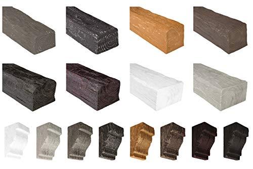 Cosca Consola de PU – para vigas decorativas (DK150-8 – Blanco 140 x 250 mm) réplica fiel de la estructura de madera, estable y muy ligero – Decoración Vigas Industrial Escuadra