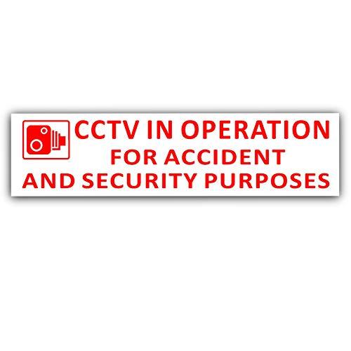 Platina Plaats 2 x 200x43mm-EXTERNE ROOD OP WITE-CCTV In bedrijf voor ongevallen en veiligheid Doel Window Sticker-CCTV Sign-Car, Van,Vrachtwagen, Taxi, Bus,Mini Cab,Minicab-Go Pro,Dashcam